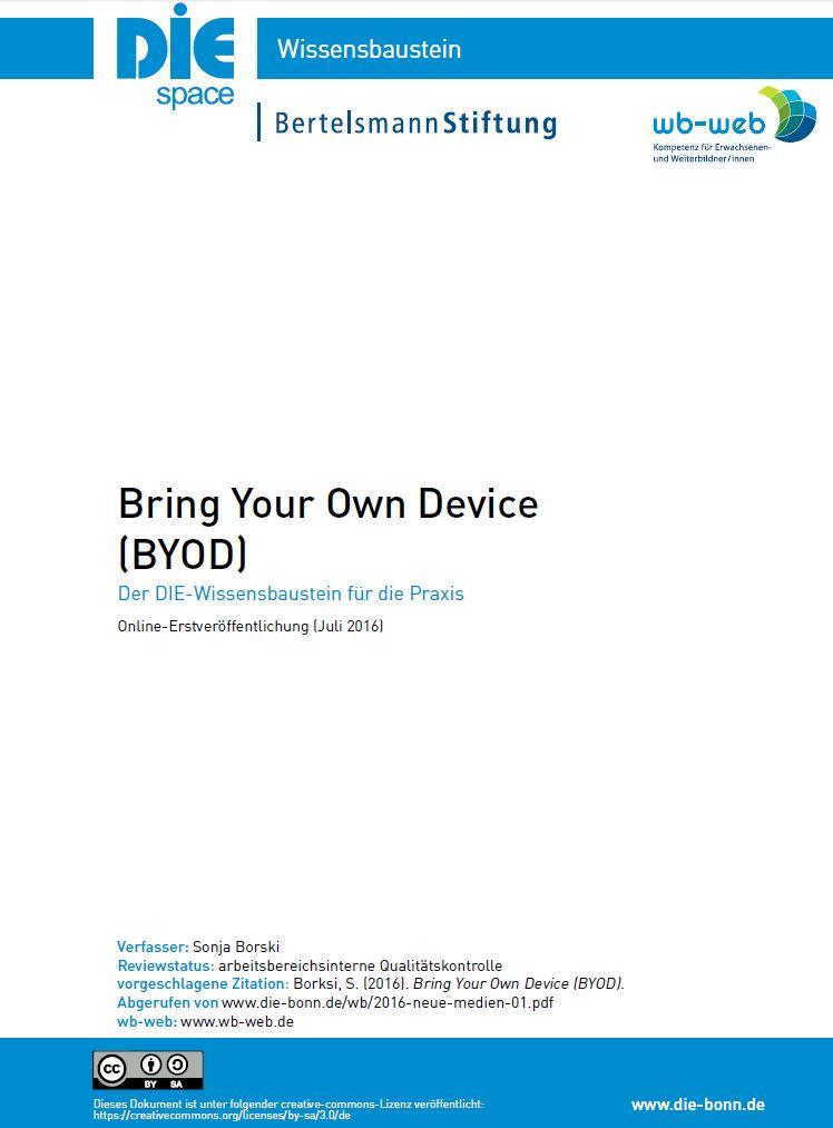 Screenshot der Titelseite des Wissensbausteins BYOD