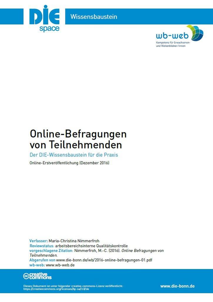 Download Wissensbaustein: Online-Befragung von Teilnehmenden