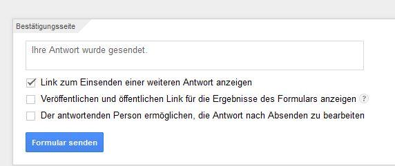"""Screenshot der Einstellung """"Bestätigungsseite"""" von Google Formular"""