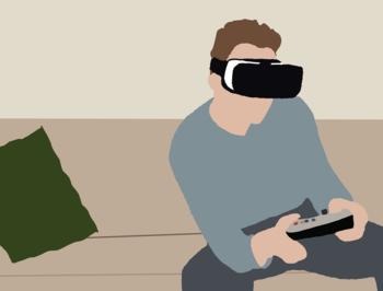 Zeichnung eines Menschen mit Spielekonsole und Virtual Reality-Brille auf einem Sofa.