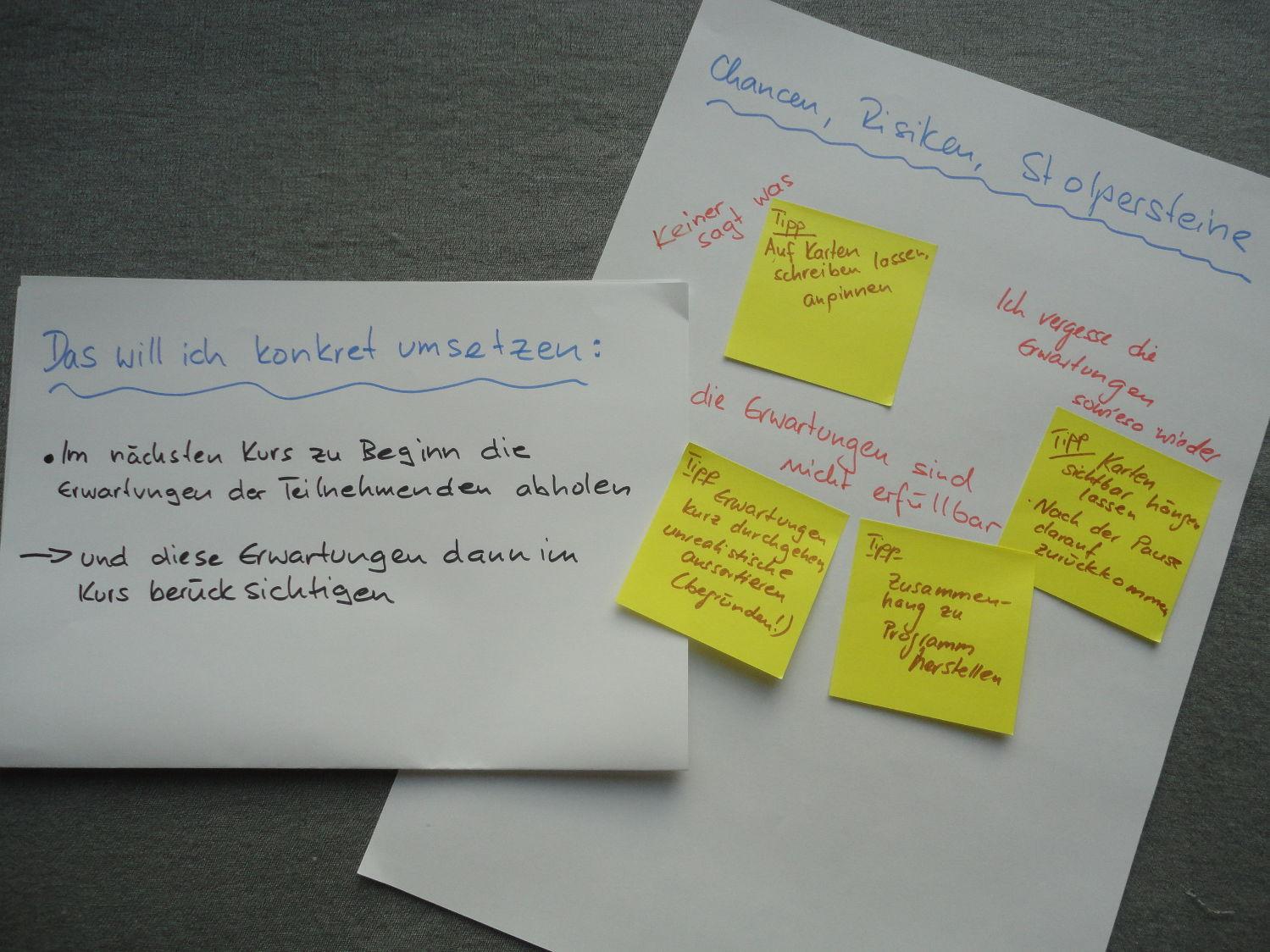 """Zwei Blätter mit Überschrift: """"Das will ich konkret umsetzen"""" und """"Chancen, Risiken, Stolpersteine"""""""