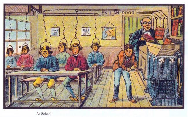 Illustration von Anfang des 20. Jahrhunderts: Schüler nehmen den Inhalt von Büchern per Draht und Hörmuscheln auf