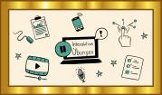 """Das Bild zeigt einen goldenen Rahmen, in dem sich verschiedene Piktogramme wie ein Playbutton, ein Mikrofon, ein Smartphone und ein Arbeitsblatt um den Begriff """"Interaktive Übungen"""" herumgruppieren."""