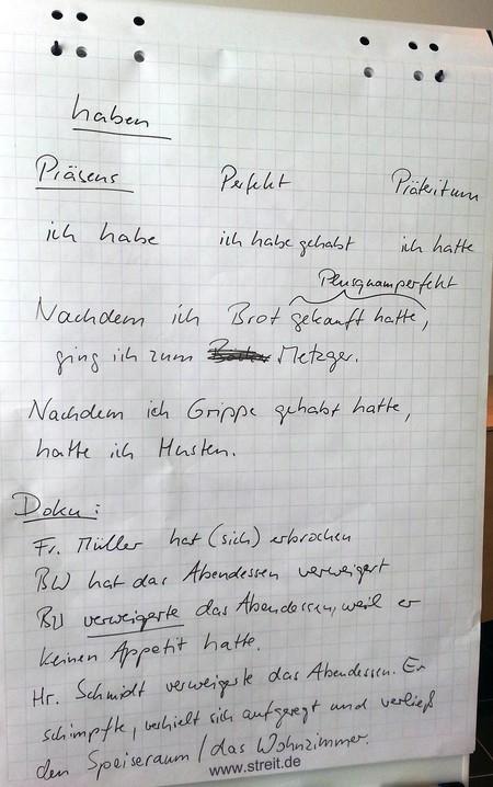 Flipchart mit Grammatikregeln