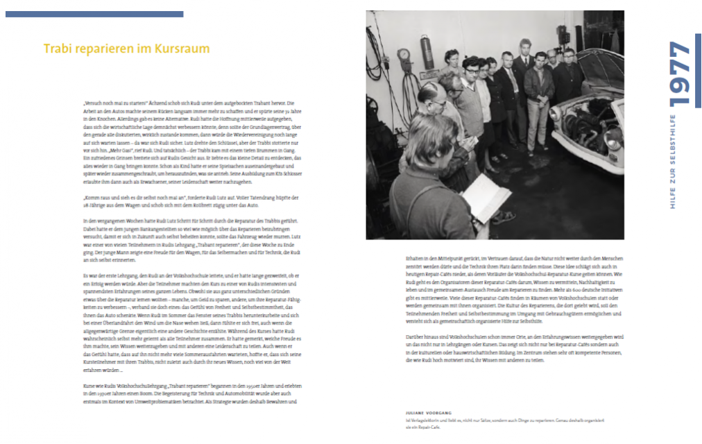 Doppelseite zum Jahr 1977: 100 Jahre Volkshochschule