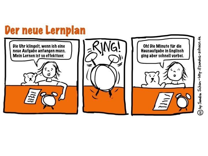 """Ein Cartoon """"Der neue Lernplan"""" auf dem ein kleines Mädchen Hausaufgaben in Englisch macht und in nur einer Minute etwas lernen will."""