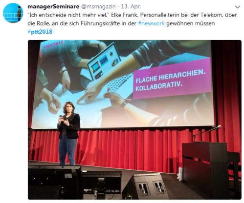 Elke Frank von der Telekom bei ihrer Präsentation auf den Petersberger Trainertagen 2018
