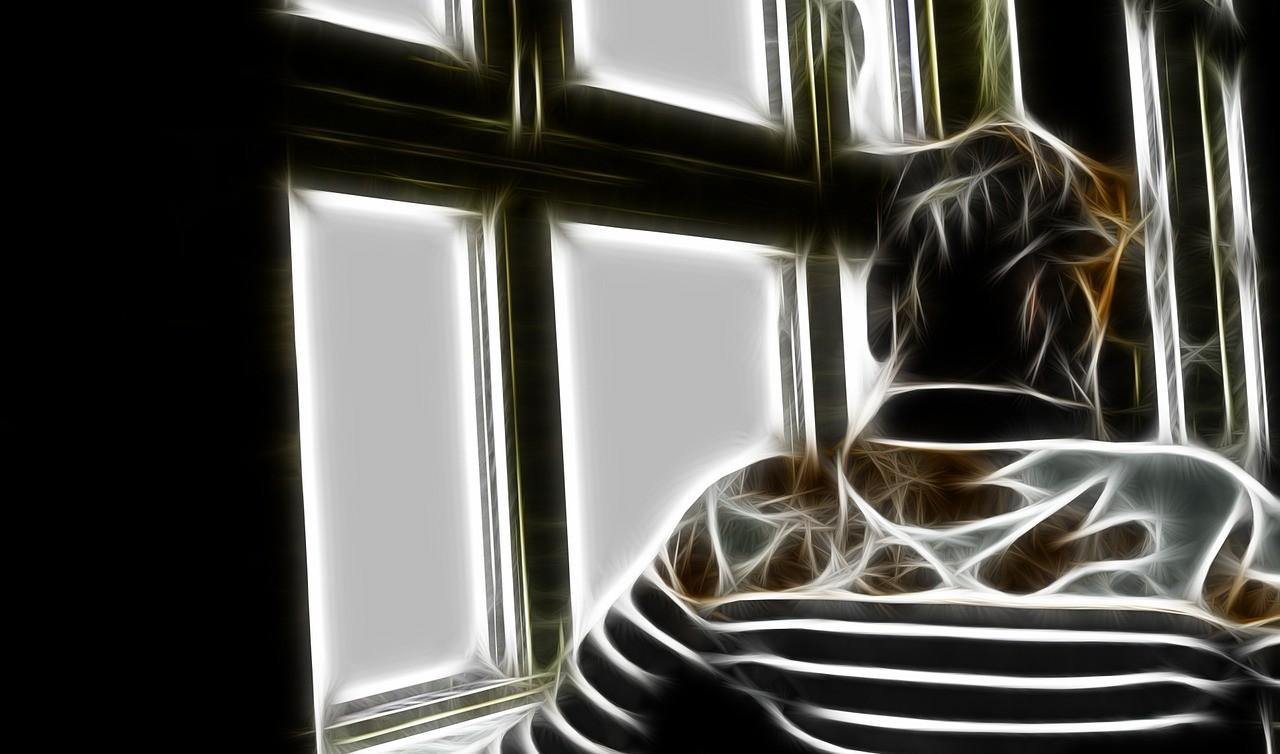 Das Bild zeigt abstrahiert eine pflegebedürftige Person bzw. demente Frau.