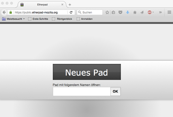 Screenshot einer Maske zur einrichtung eines neuen Pads. Zu lesen ist auf einem großen Button: Neues Pad