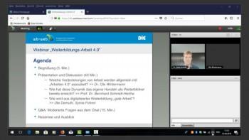 Ansicht des Webinars mit Agenda und Video des Moderators