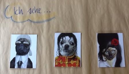 drei Fotos auf einem Bogen Papier geklebt