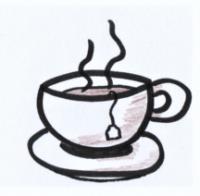Das Bild zeigt eine gezeichnete dampfende Teetasse.