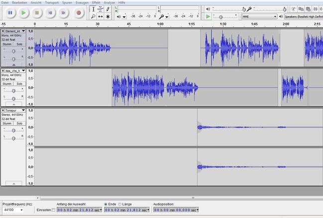Verschiedene Tonspuren im kostenlosen Schnittprogramm Audacity
