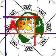 Das Bild zeigt die Buchstaben A, B, C vor einer Weltkarte