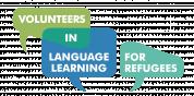 """Das Bild zeigt das Logo von """"Volunteers in language learning for refugees"""". Die Wörter des Projektnamens sind in blaue und grüne Sprechblasen vor weißem Grund dargestellt."""