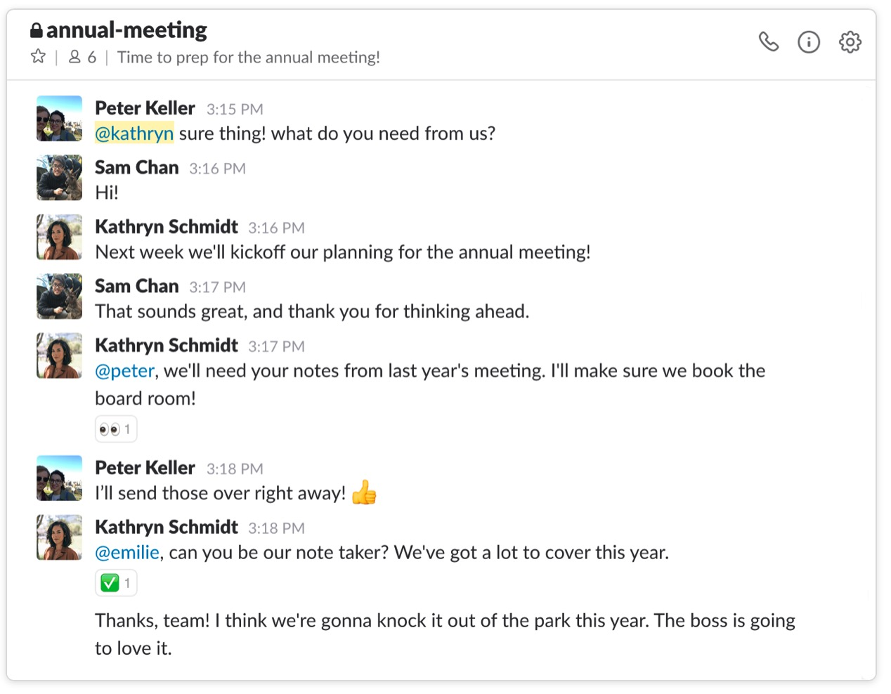 Screenshot Slack Timeline