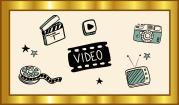Das Symbolbild zeigt einen goldenen Rahmen, in dem eine Filmrolle, eine Regieklappe, ein Playbutton, eine Kamera und ein Fernseher als Piktogramme um das Wort Video herum gruppiert sind.