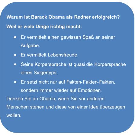 Das Bild stellt die Frage, warum Barack Obama als Redner erfolgreich ist.