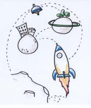 Das Bild zeigt eine Zeichnung vom Weltraum, mit verschiedenen Planeten, einer Rakete und einem Sateliten, die alle durch feine Linien miteinander verbunden sind.