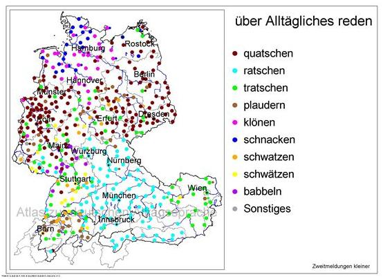 """Das Bild zeigt die regionalen Unterschiede für den Begriff """"über Alltägliches reden2."""