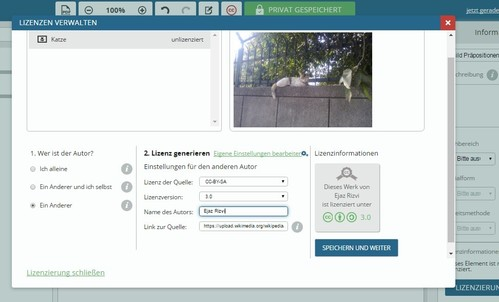 Screenshot von tutory.de: Das Fenster Lizenzinfomationen