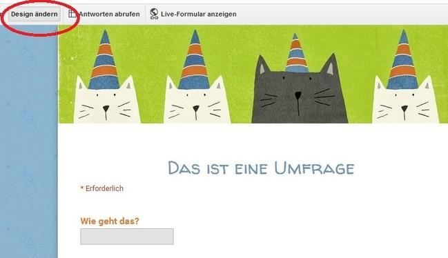 Der Screenshot zeigt eine Designvorlage mit Katzen.