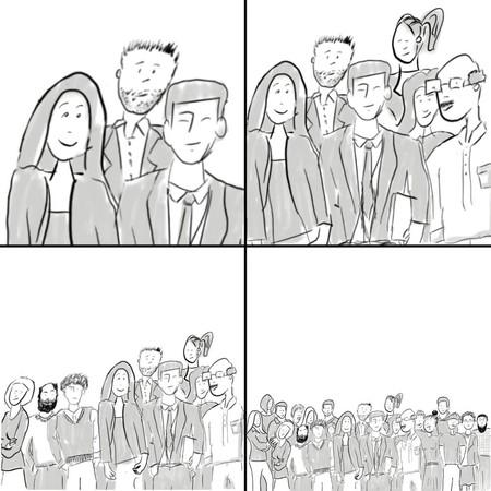 vier Bilder zeigen Menschengruppen von drei Personen bis zu ganz vielen Personen