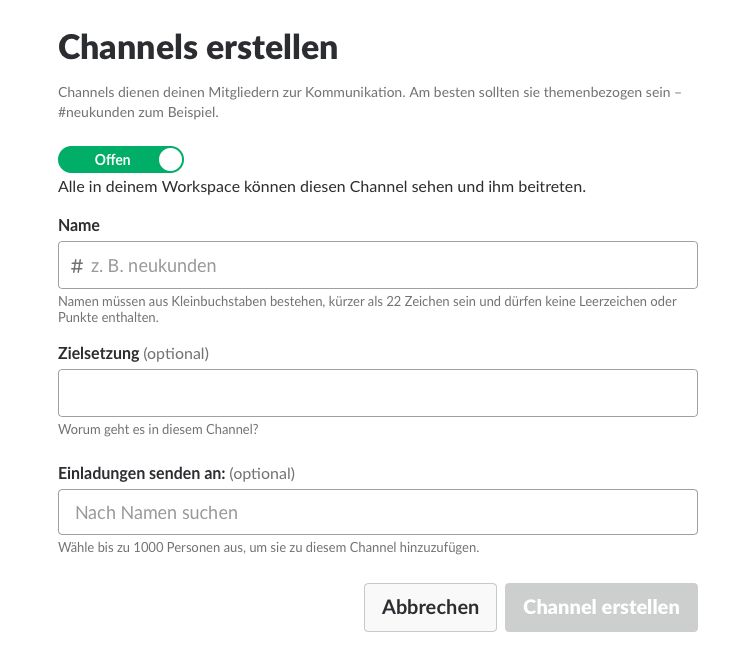 Screenshot Slack Anlage eines Channels