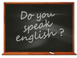 Tafel mit Aufschrift Do you speak English?