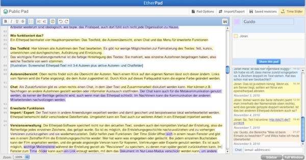 Screenshot eines Etherpads, das bereits vollgeschrieben ist. Es sind Textabschnitte in verschiedenen Farben zu sehen.