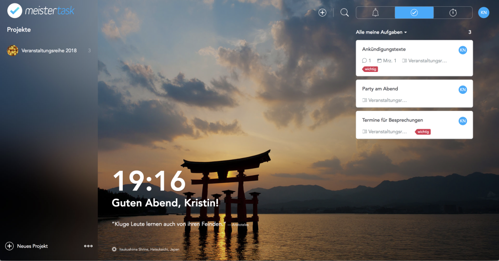 Screenshot Startseite Meistertask