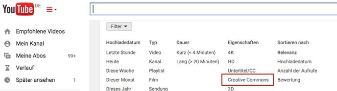 Wo finde ich die Creative Commons-Lizenzen auf Youtube?