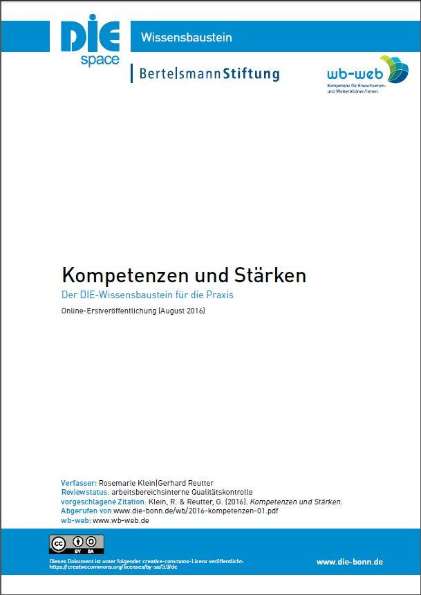 Cover des Wissensbausteins Kompetenzen und Stärken
