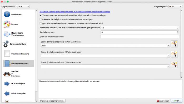 Screenshot Calibre, Inhaltsverzeichnis anlegen