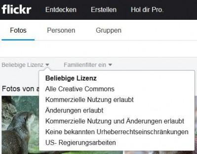 Der Screenshot zeigt die Auswahlmöglichkeiten der Lizenzen bei der Suche auf der Plattform Flickr.