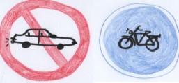 Das Bild zeigt das Piktogramm eines Verboten-Schildes mit einem Auto drauf und einem Erlaubt-Schild mit einem Fahrrad drauf.