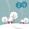 Schneelandschaft mit Bäumen und Häusern und Ziffer 14