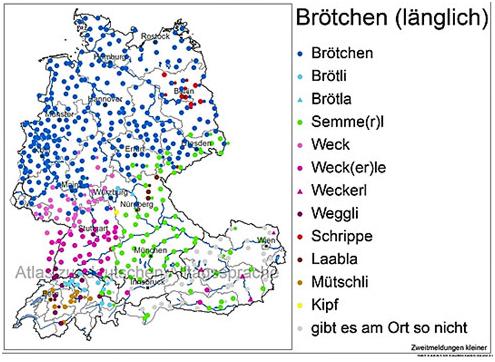 """Das Bild zeigt die regionale Verwendung von Begriffen für """"Brötchen"""" in Deutschland."""