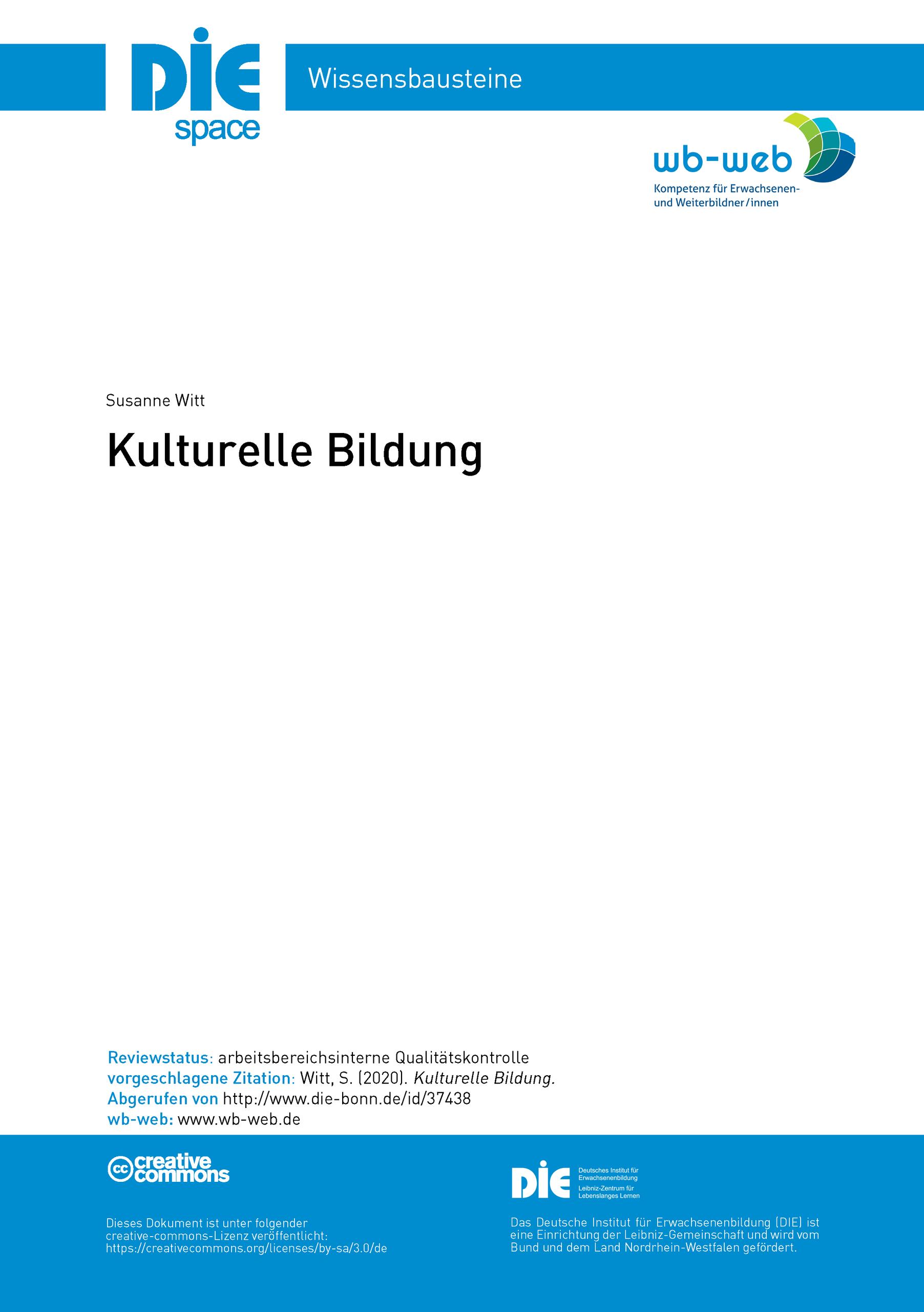 Titelblatt Wissensbaustein Kulturelle Bildung