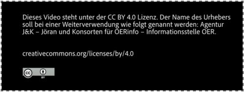 Das Bild zeigt den Screenshot eines Abspanntextes unter CC-BY sa 4.0 Lizenz.