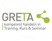 """Das Bild zeigt das Logo des Projektes GRETA mit dem Untertitel """"kompetent handeln in Training, Kurs & Seminar""""."""