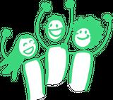 Das Bild zeigt drei gezeichnete Personen, die lachend die Hände in die Höhe strecken.