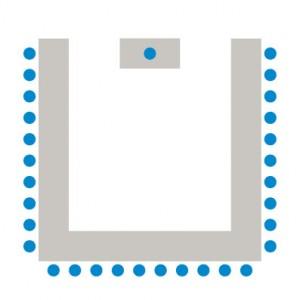 Tische bilden ein U oder Hufeisen, die Teilnehmer sitzen einander zugewandt daran.