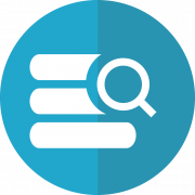 Grafik mit Buchstapel und Lupe