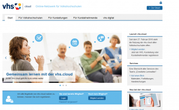Screenshot vhs.cloud Startseite