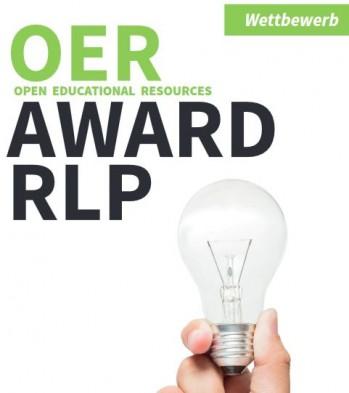 Schriftzug OER Award RLP und Hand mit Glühbirne