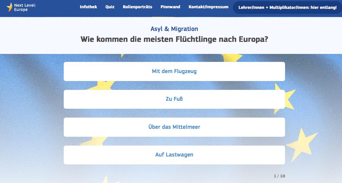 Screenshot einer Quizfrage