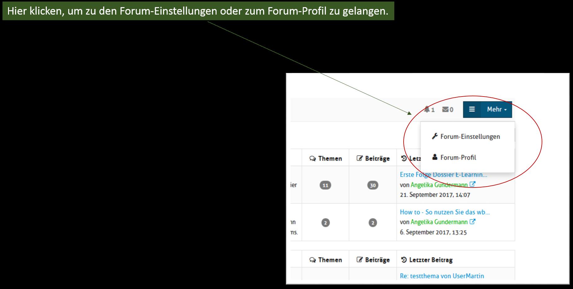 Screenshot mit Anleitung