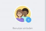 Kreis mit zwei Menschen und Beschriftung Benutzer einladen