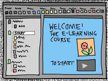 Grafik eines Startbildschirms mit Aufschrift Welcome The E-Learning Course